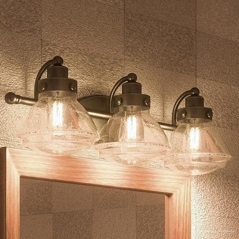 "Luxury Transitional Bathroom Vanity Light, 8""H x 25""W, with Rustic Style, Parisian Bronze Finish"