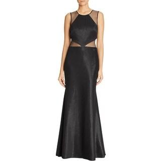 JS Collections Womens Evening Dress Metallic Mesh Inset
