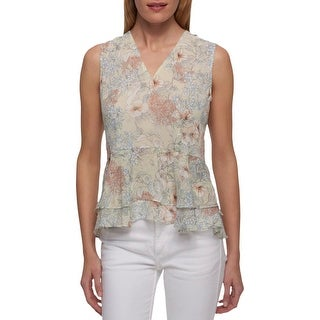 Tommy Hilfiger Womens Peplum Top Floral Ruffled