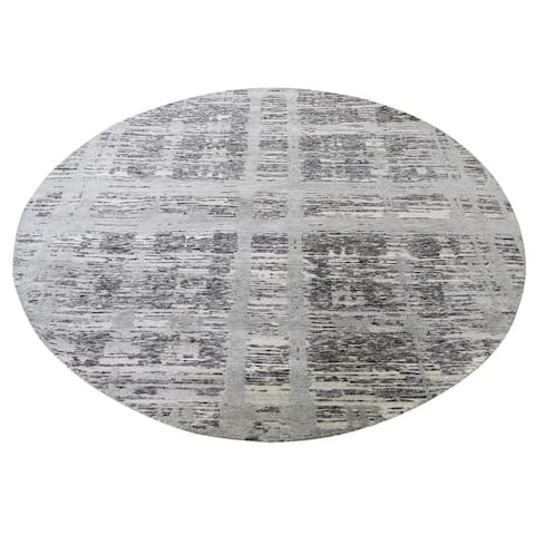 Hand Knotted Grey Modern and Contemporary with Wool Oriental Rug (7' x 7') - 7' x 7'