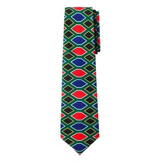 Jacob Alexander South Africa Country Flag Colors Men's Necktie - Hexagon Diamond Pattern Design