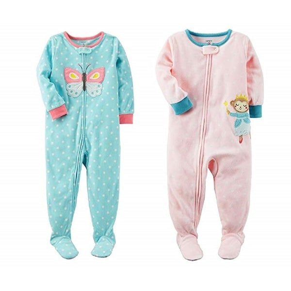 dcb91ad51 Shop Carter's Baby Girls' Toddler 2-Pack Fleece Pajamas, Butterfly/Monkey,  24 Months - 24 Months - Free Shipping On Orders Over $45 - Overstock -  25736439