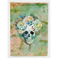 Day of the Dead Skull with Flowers Flag Garden Size