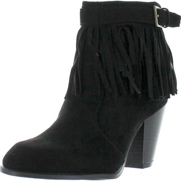 Qupid Salty-21X Women's Fringe Pointy Toe Stacked Chunky Heel Ankle Booties - Black