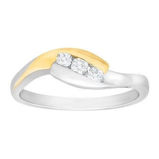 1/6 ct Diamond Three-Stone Ring in Sterling Silver and 14K Gold