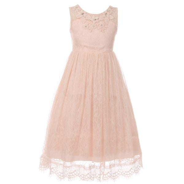 63094e72e55 Shop Girls Blush Floral Decorated Lace Junior Bridesmaid Dress ...