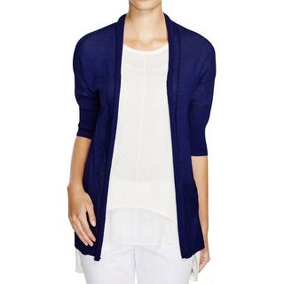 Finity Womens Cardigan Sweater Open Front Elbow Sleeves