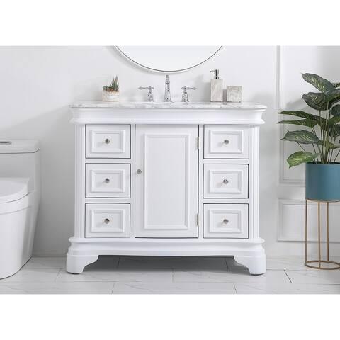 Knox Bathroom Carrara Marble Top 42-inch Vanity Set