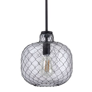 "Miseno MLIT143851 1 Light 10"" Wide Nautical Style Pendant - Seeded Glass Shade with Mesh Wire Cover"