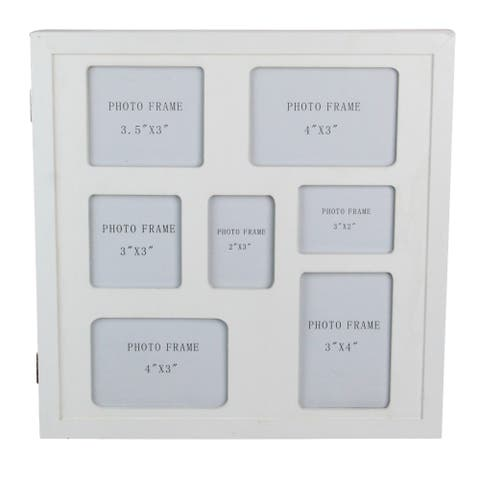 """12"""" White Seven Slot Picture Frame With Hidden Storage - N/A"""