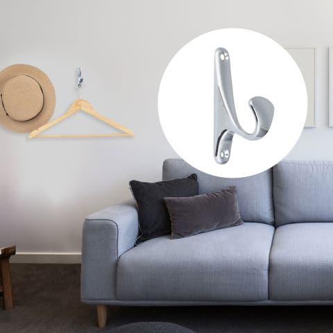 2pcs Wall Hooks Zinc Alloy Hook Coat Towel Key DIY Hanger w Screws Polishing