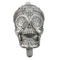 Silver Day of the Dead Sugar Skull Shaped Bottle Opener Wall Mounted 5 Inches