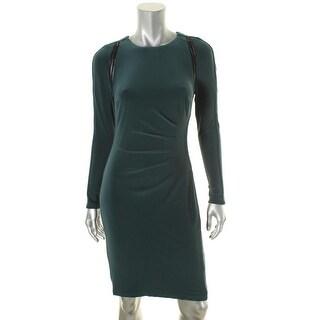 Lauren Ralph Lauren Womens Jonni Evening Dress Faux Leather Trim Gathered