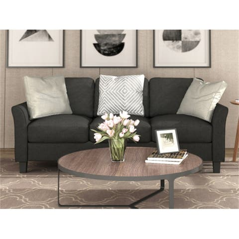 AOOLIVE Living Room 3-Seat Linen Fabric Sofa with thick foam,Black
