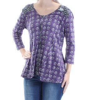 Womens Purple Tribal 3/4 Sleeve Jewel Neck Casual Button Up Top Size S