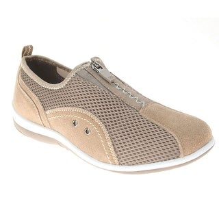Women's Spring Step Racer Zip Up Tennis Shoes - Wide Width - Size 38 - Taupe - size 38
