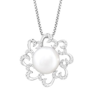 Button Freshwater Pearl & 1/8 ct Diamond Pendant in Sterling Silver
