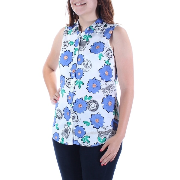 2c53deee Shop MAISON JULES Womens Purple Floral Sleeveless Collared Button Up Top  Size: S - On Sale - Free Shipping On Orders Over $45 - Overstock - 21263721