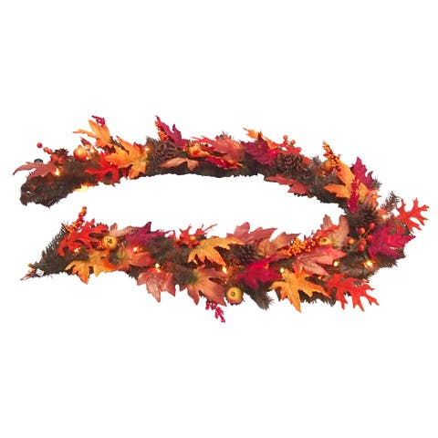 6 ft. Maple Garland with Clear Lights