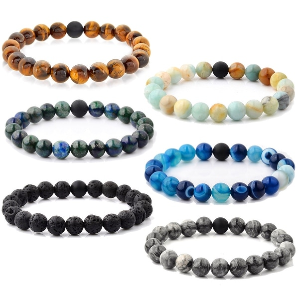 Crucible Spiritual Healing Natural Stone Bead Stretch Bracelet. Opens flyout.