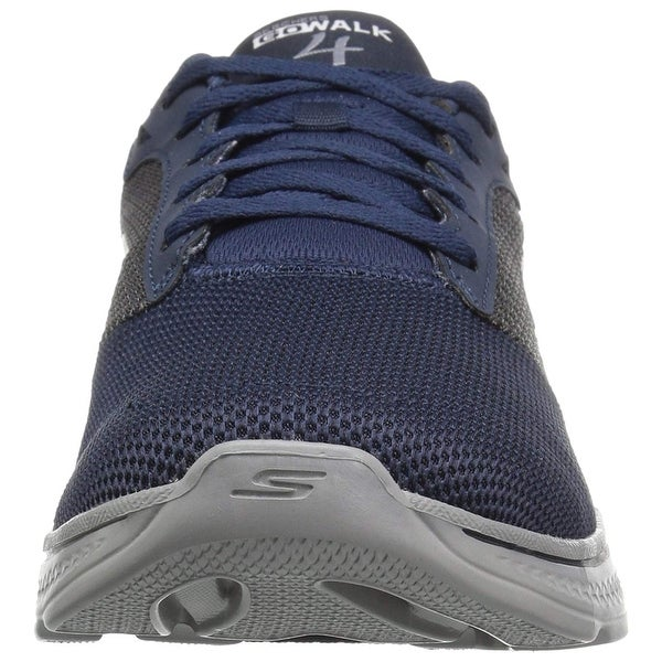 Lace-Up Walking Shoe,Navy/Gray Knit