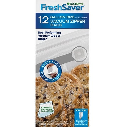 FoodSaver FSFRBZ0316-P00R FreshSaver Vacuum Food Sealer Bag, Clear, 1 Gallon