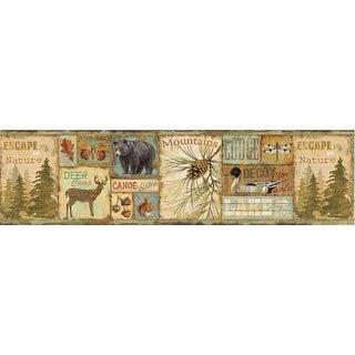 Brewster TLL01591B Attitash Aqua Deer Camp Border Wallpaper - aqua deer camp