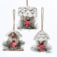 "Pack of 12 Assorted Pine Cone and Twig Birdhouses with Cardinal Bird Christmas Ornaments 3.5"" - WHITE"