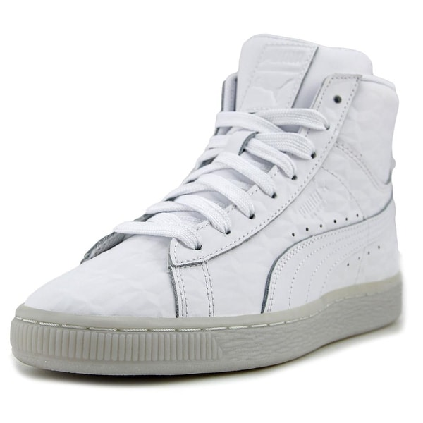 online retailer f29eb dc721 Puma Basket Classic Mid Emboss Jr Youth Synthetic White Fashion Sneakers
