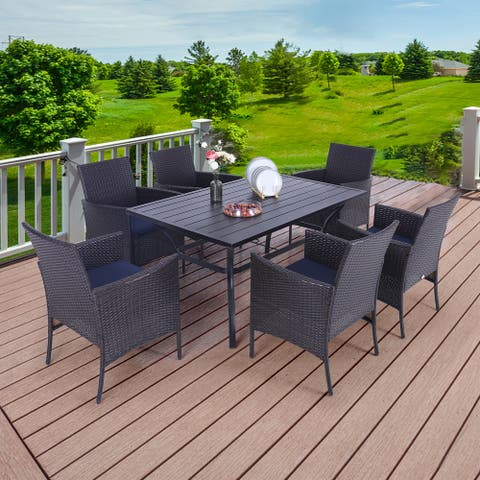 """PHI VILLA 7 Piece Outdoor Dining Sets, 60""""x38"""" Rectangular Dining Table with 1.57"""" Umbrella Hole and 6 Rattan Garden Chairs"""