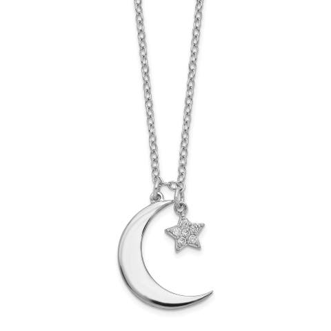 Sterling Silver Rhodium-plated Polished Cubic Zirconia Star and Moon with 2-inch Extension Necklace by Versil