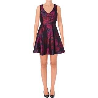Aqua Womens Casual Dress Brocade Floral Print