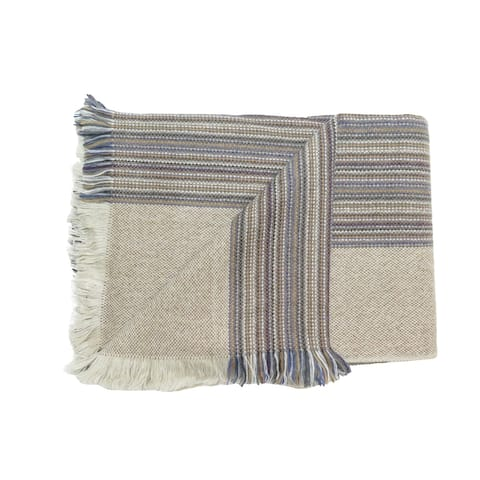 Luciano Barbera Mens Beige Striped Scarf