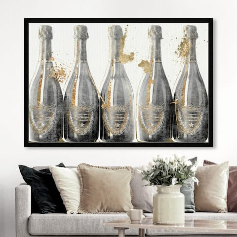 Oliver Gal 'Dom Marbles 1988' Drinks and Spirits Wall Art Framed Print Champagne - Gold, Gray
