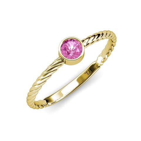 TriJewels Pink Sapphire 1/2 ct Womens Solitaire Promise Ring 14K Gold