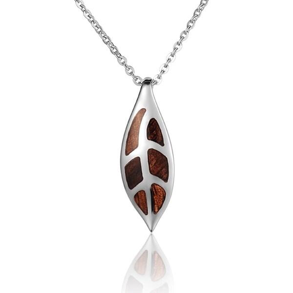 Shop Sterling Silver Koa Wood Maile Pendant 18 Quot Necklace