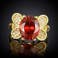 Gold Plated Flying Ruby Butterfly Ring - Thumbnail 1
