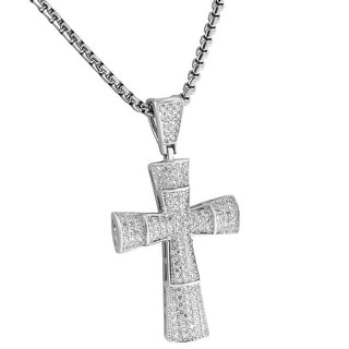Iced Out Cross Pendant Pave Set 24 Inch Necklace Chain Sterling Silver Men Women