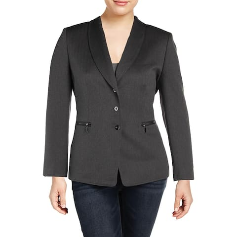 Tahari ASL Womens Three-Button Blazer Herringbone Office