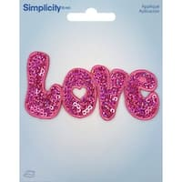 Wrights Sequin Iron-On Applique-Love Pink