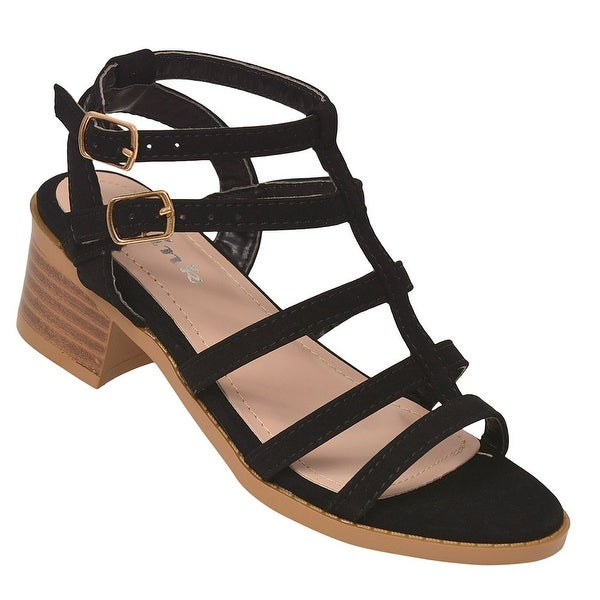 02aad0f8d7 Girls Black Caged Strap Low Block Heel Open Toe Trendy Sandals