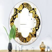Designart Golden Zigzag Chain Modern Round Or Oval Wall Mirror Quatrefoil On Sale Overstock 29840529