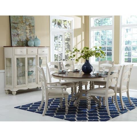 Hillsdale Furniture Pine Island Wood Round Dining Set, Rustic White