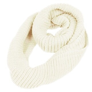 Unique Bargains Ladies White Circle Loop Warm Knitted Shawl Neck Scarf Wrap
