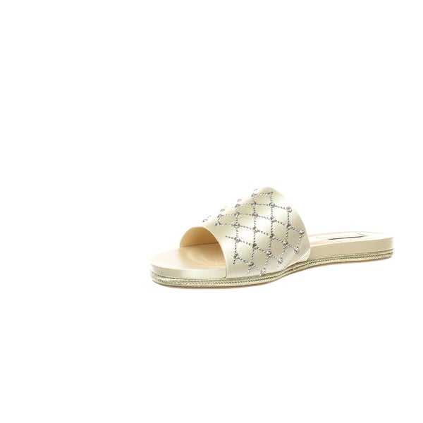 BADGLEY MISCHKA Womens Shayna Fabric Open Toe Casual Slide Sandals