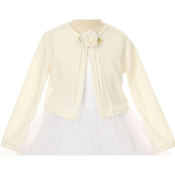 aa46eb504066 Shop Flower Girl Long Sleeves Cotton Cardigan with Pearl Ivory KD ...