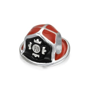 Bling Jewelry Red Enamel Fire Department Fireman Hat Bead Charm Silver