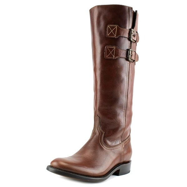 Lucchese Tall Riding Boot M85 Women Round Toe Leather Brown Knee High Boot