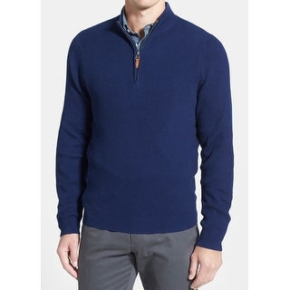 Nordstrom NEW Blue Mens Size XL Quarter Zip Cashmere Ribbed Sweater