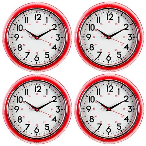 kieragrace KG Retro Wall Clock, Red - 9.5""